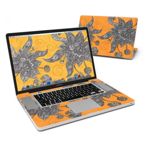 Orange Flowers MacBook Pro Pre 2012 17-inch Skin