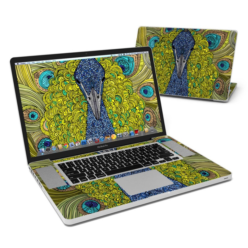 MacBook Pro Pre 2012 17-inch Skin design of Peafowl, Bird, Feather, Pattern, Art, Phasianidae, Galliformes, Design, Psychedelic art, Symmetry with green, blue, yellow colors
