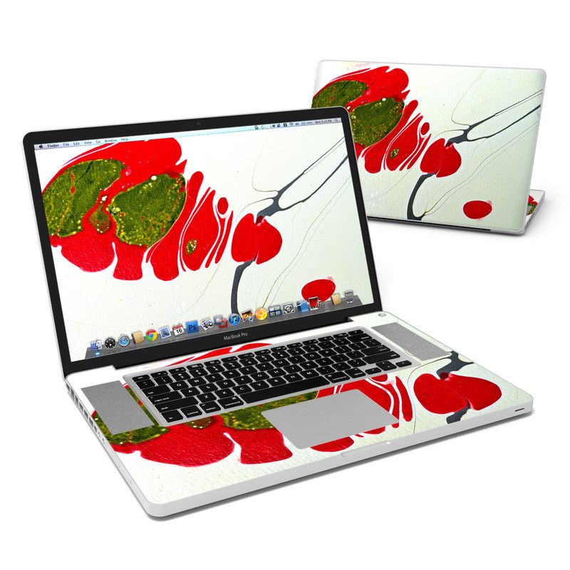 MacBook Pro Pre 2012 17-inch Skin design of Red, Illustration, Art, Plant, Coquelicot, Visual arts, Acrylic paint with red, green, black, white colors