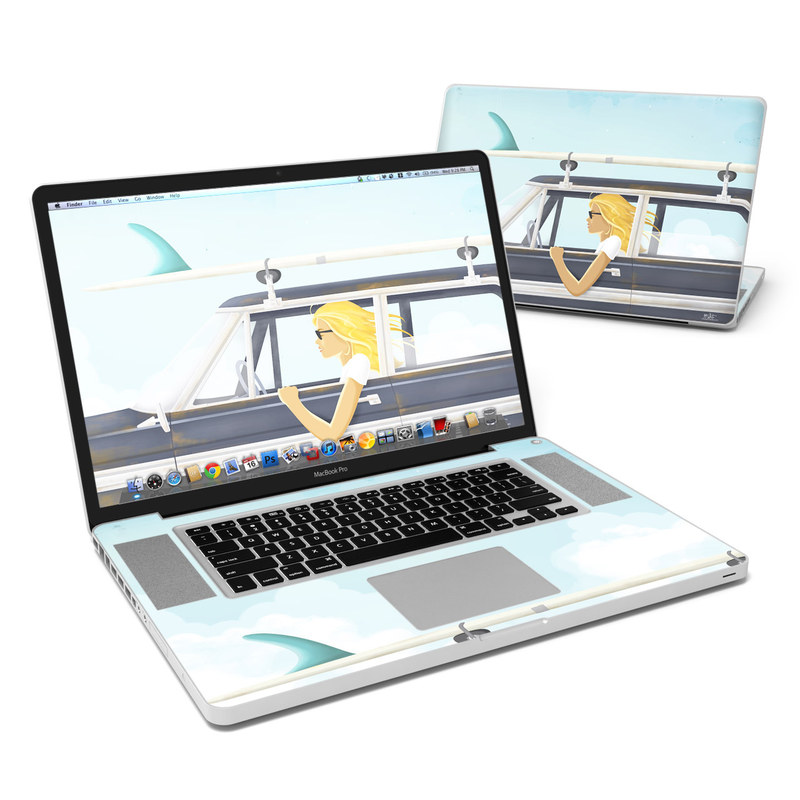 MacBook Pro Pre 2012 17-inch Skin design of Vehicle door, Vehicle, Automotive exterior, Automotive design, Car, Headgear, Windshield, Dress, Automotive window part, Family car with blue, white, gray, yellow colors
