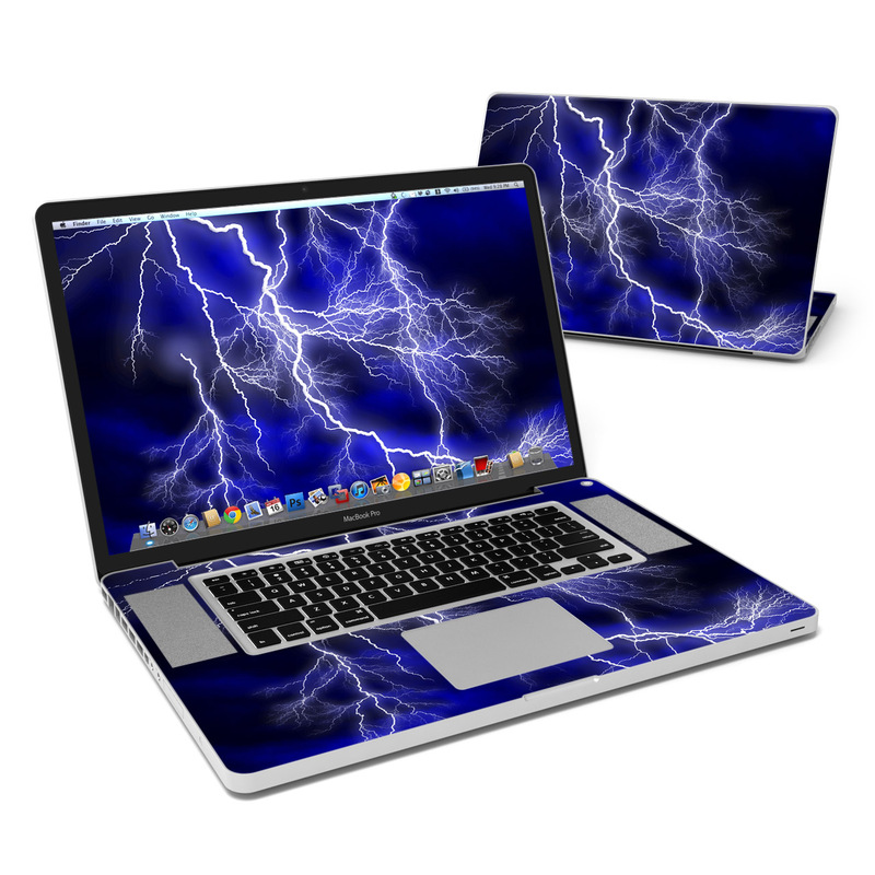 MacBook Pro Pre 2012 17-inch Skin design of Thunder, Lightning, Thunderstorm, Sky, Nature, Electric blue, Atmosphere, Daytime, Blue, Atmospheric phenomenon with blue, black, white colors
