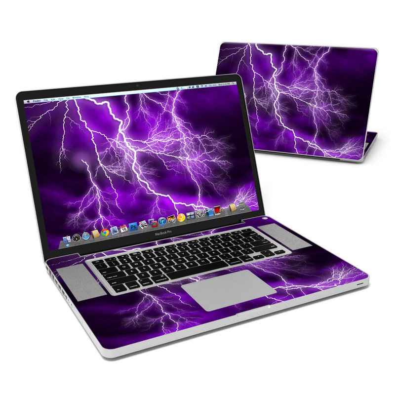 MacBook Pro Pre 2012 17-inch Skin design of Thunder, Lightning, Thunderstorm, Sky, Nature, Purple, Violet, Atmosphere, Storm, Electric blue with purple, black, white colors