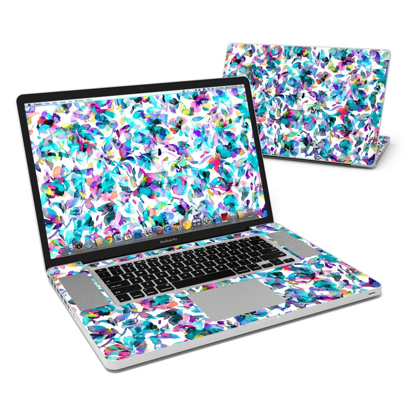 MacBook Pro Pre 2012 17-inch Skin design of Pattern, Design, Textile with white, blue, red, purple, pink, orange, yellow colors
