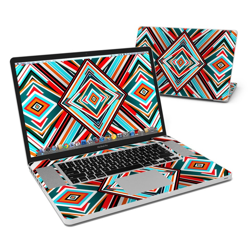 MacBook Pro Pre 2012 17-inch Skin design of Pattern, Turquoise, Line, Symmetry, Teal, Design, Textile, Visual arts, Triangle with red, blue, white, black colors
