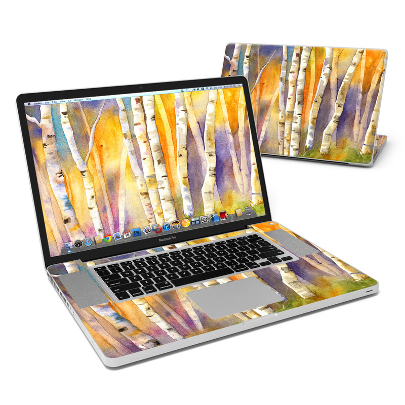 MacBook Pro Pre 2012 17-inch Skin design of Canoe birch, Watercolor paint, Tree, Birch, Woody plant, Painting, Plant, Birch family, Paint, Trunk with orange, yellow, green, white, purple, blue colors