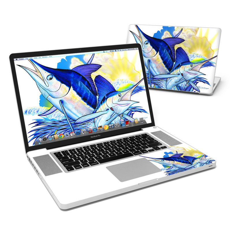 Blue White and Yellow MacBook Pro 17-inch Skin