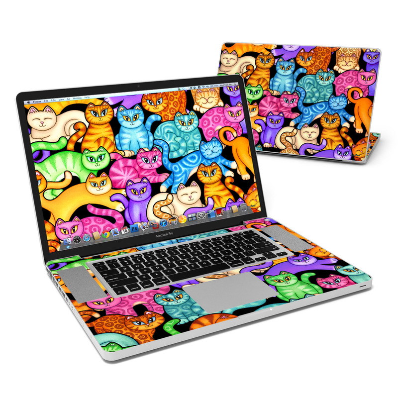 MacBook Pro Pre 2012 17-inch Skin design of Cat, Cartoon, Felidae, Organism, Small to medium-sized cats, Illustration, Animated cartoon, Wildlife, Kitten, Art with black, blue, red, purple, green, brown colors