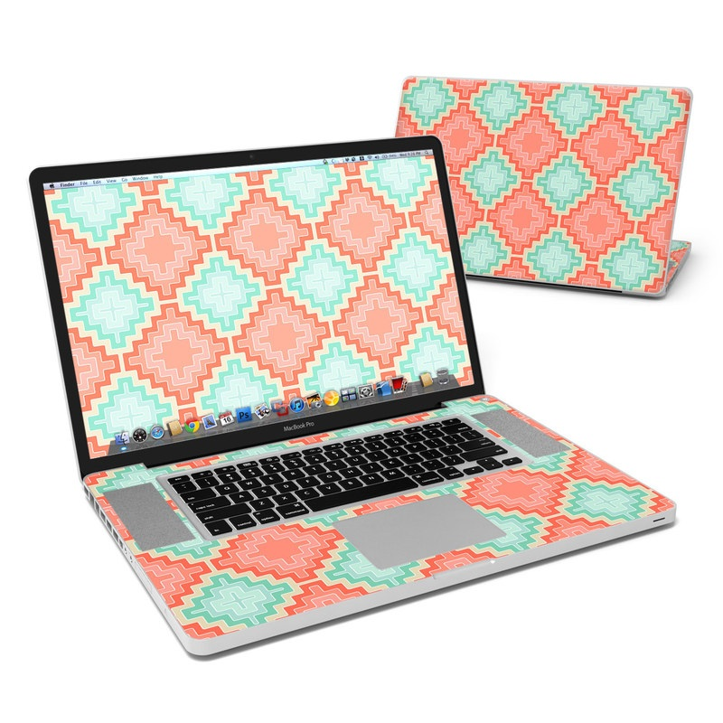 MacBook Pro Pre 2012 17-inch Skin design of Pattern, Aqua, Orange, Green, Turquoise, Teal, Design, Textile, Symmetry with gray, pink, red, orange colors