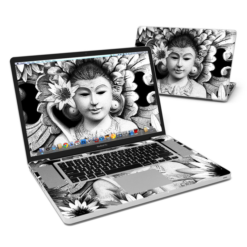 MacBook Pro Pre 2012 17-inch Skin design of Illustration, Black-and-white, Art, Monochrome, Monochrome photography, Plant, Flower, Photography, Drawing, Visual arts with black, white, gray colors