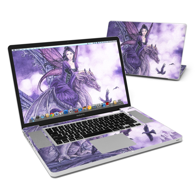 MacBook Pro Pre 2012 17-inch Skin design of Cg artwork, Violet, Fictional character, Purple, Mythology, Illustration, Mythical creature, Woman warrior, Art with gray, blue, black, purple, pink colors