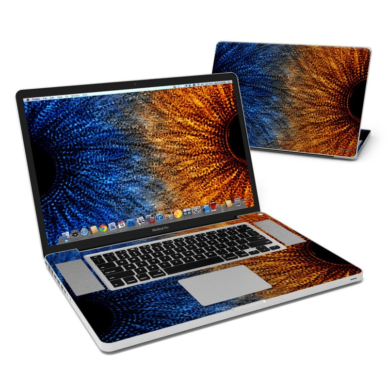 MacBook Pro Pre 2012 17-inch Skin design of Blue, Orange, Sky, Eye, Yellow, Close-up, Electric blue, Fractal art, Iris, Pattern with blue, orange, yellow, black colors