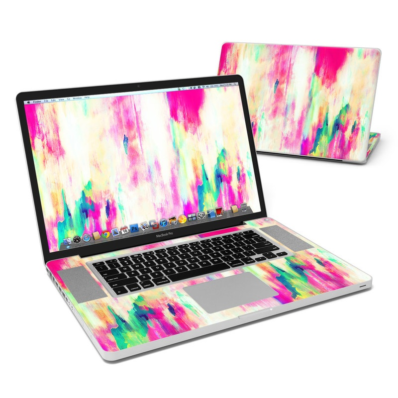 MacBook Pro Pre 2012 17-inch Skin design of Pink, Magenta, Art, Watercolor paint, Dye, Visual arts, Pattern, Modern art, Painting, Acrylic paint with red, white, green colors