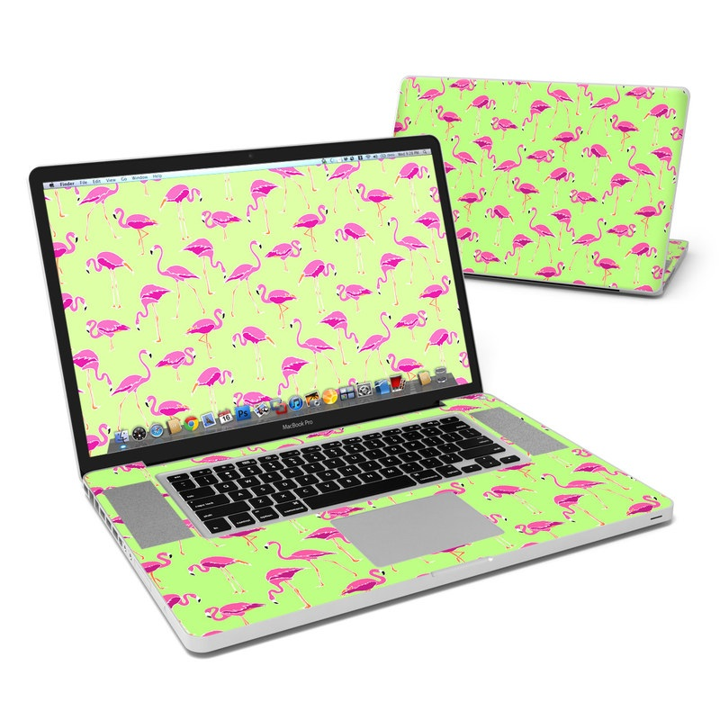 MacBook Pro Pre 2012 17-inch Skin design of Pink, Green, Red, Pattern, Wrapping paper, Textile, Design, Flamingo, Line with pink, green colors