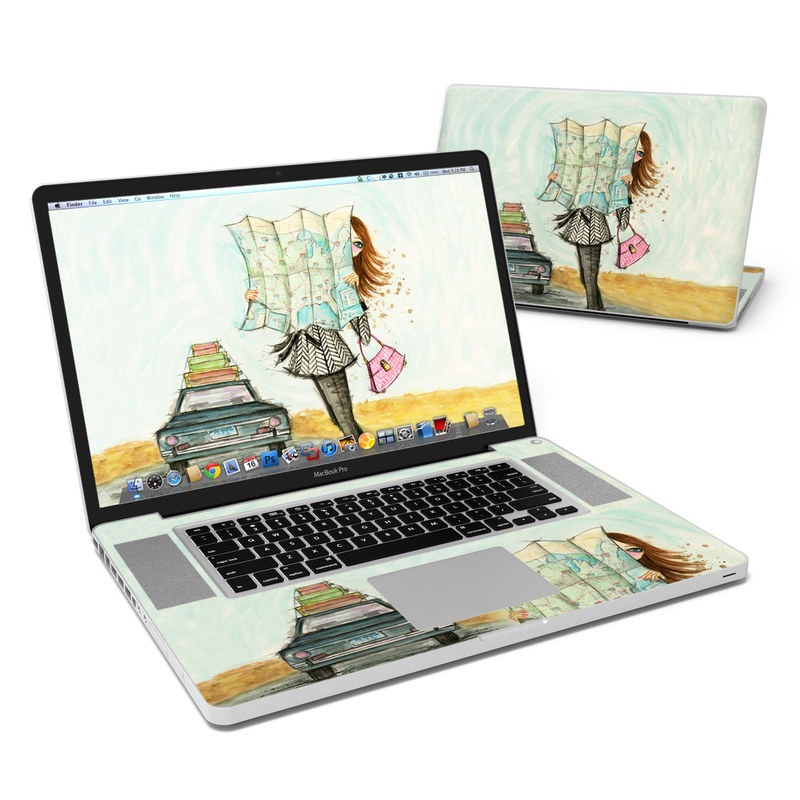 MacBook Pro Pre 2012 17-inch Skin design of Fashion illustration, Sketch, Watercolor paint, Illustration, Drawing, Art, Footwear, Vehicle, Painting, Fashion design with blue, black, gray, white, pink, brown, green, orange, yellow colors