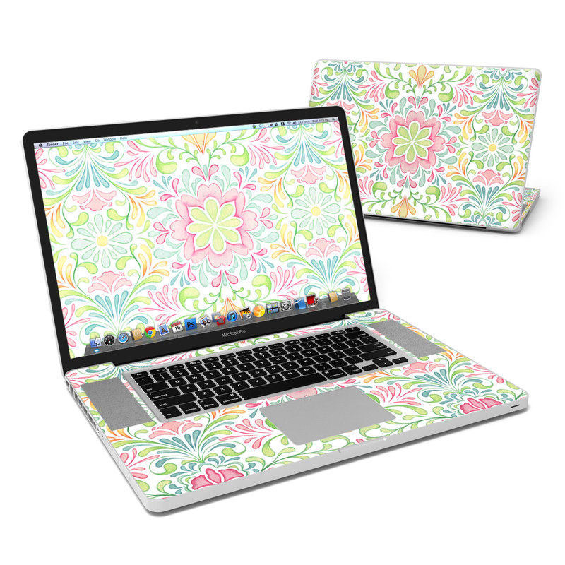 MacBook Pro Pre 2012 17-inch Skin design of Pattern, Pink, Visual arts, Design, Textile, Wrapping paper, Symmetry, Floral design, Motif with gray, white, pink, green colors