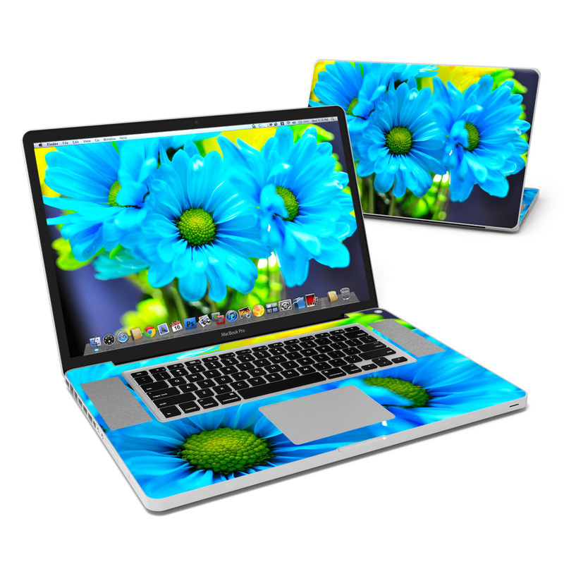 MacBook Pro Pre 2012 17-inch Skin design of Blue, Flower, Petal, Green, Plant, Cobalt blue, Yellow, Flowering plant, Gerbera, Electric blue with blue, black, green colors