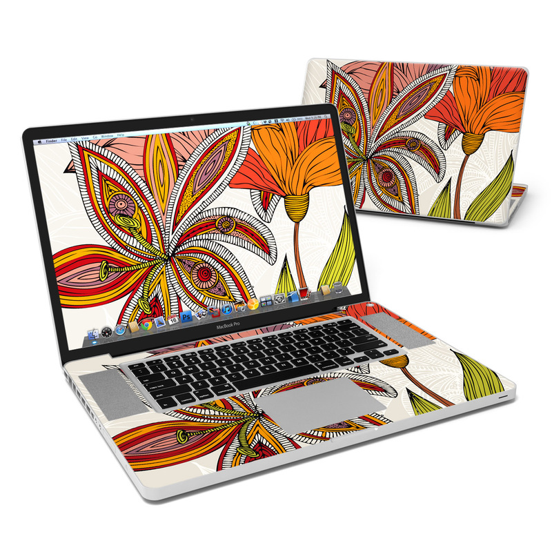 MacBook Pro Pre 2012 17-inch Skin design of Leaf, Orange, Pattern, Plant, Botany, Flower, Design, Daylily, Wildflower, Illustration with gray, red, black, green, pink colors