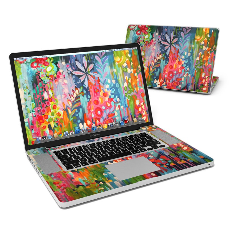 MacBook Pro Pre 2012 17-inch Skin design of Painting, Modern art, Acrylic paint, Art, Visual arts, Watercolor paint, Child art, Flower, Plant, Tree with blue, red, orange, purple, yellow, pink, green colors