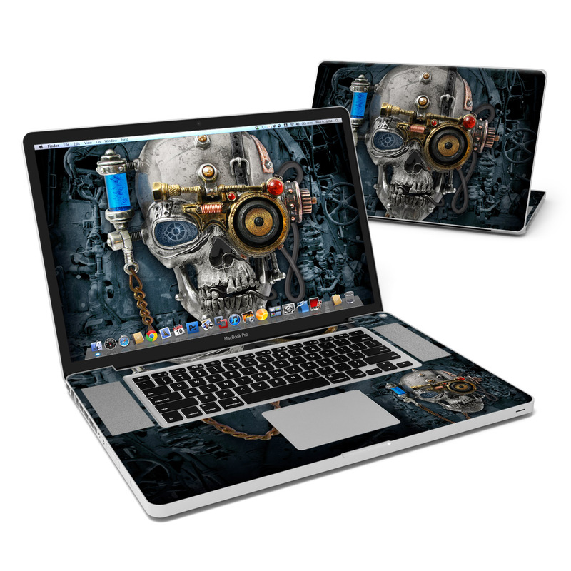 MacBook Pro Pre 2012 17-inch Skin design of Engine, Auto part, Still life photography, Personal protective equipment, Illustration, Automotive engine part, Art with black, gray, red, green colors