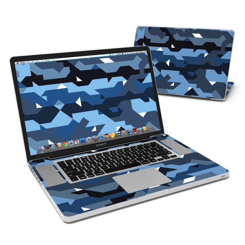MacBook Pro Pre 2012 17-inch Skin design of Blue, Pattern, Design, Font, Line, Camouflage, Illustration, Triangle with blue, black, white, gray colors