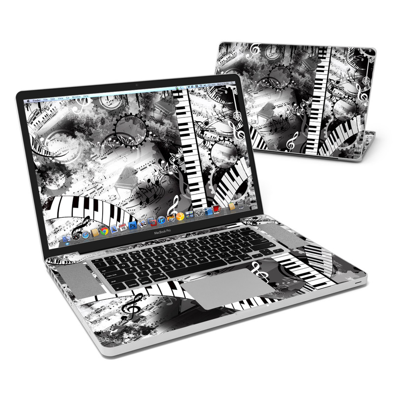 MacBook Pro Pre 2012 17-inch Skin design of Music, Monochrome, Black-and-white, Illustration, Graphic design, Musical instrument, Technology, Musical keyboard, Piano, Electronic instrument with black, gray, white colors
