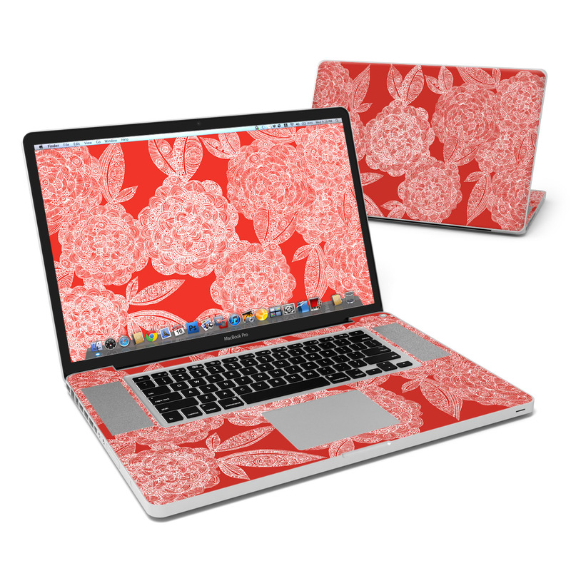 Red Dahlias MacBook Pro 17-inch Skin