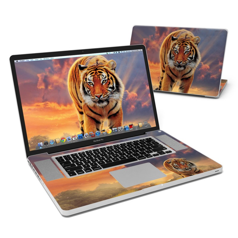 MacBook Pro Pre 2012 17-inch Skin design of Tiger, Wildlife, Bengal tiger, Mammal, Felidae, Siberian tiger, Sky, Big cats, Terrestrial animal, Carnivore with black, white, yellow, red, green, blue colors