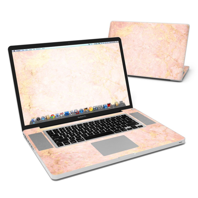 MacBook Pro Pre 2012 17-inch Skin design of Pink, Peach, Wallpaper, Pattern with pink, yellow, orange colors