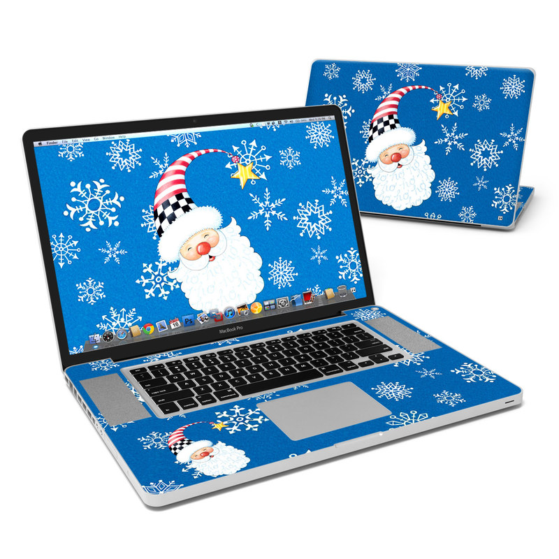 MacBook Pro Pre 2012 17-inch Skin design of Christmas, Santa claus, Christmas eve, Fictional character with blue, white, gray, purple colors