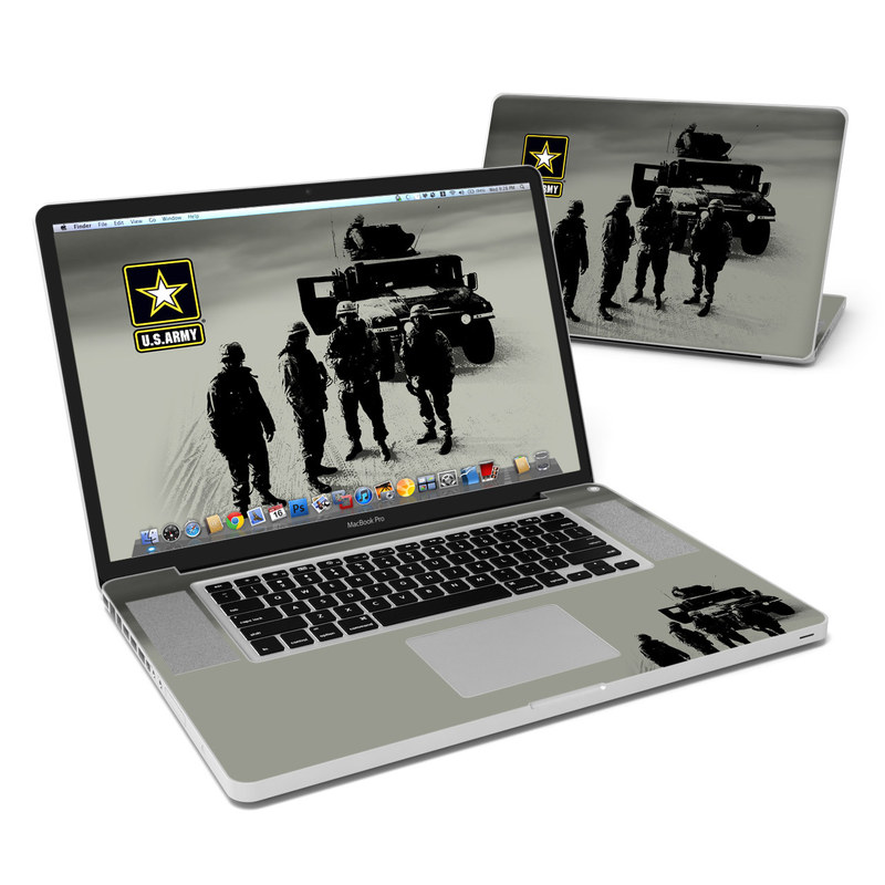 MacBook Pro Pre 2012 17-inch Skin design of Motor vehicle, Army, Soldier, Military organization, Armored car, Military, Troop, Vehicle, Infantry, Military vehicle with black, yellow, white, gray colors