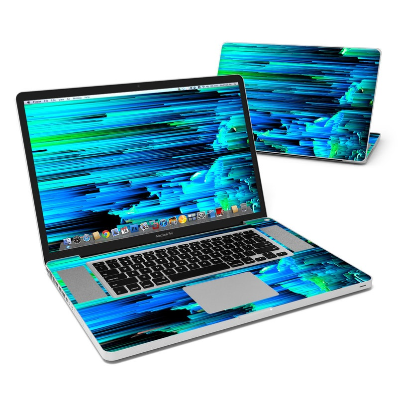 MacBook Pro Pre 2012 17-inch Skin design of Blue, Green, Turquoise, Light, Colorfulness, Electric blue with blue, green, black, white colors