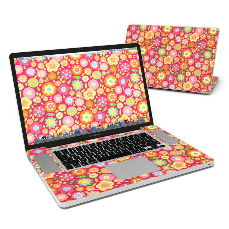 MacBook Pro Pre 2012 17-inch Skin design of Orange, Pattern, Design, Circle with red, pink, green, gray, orange, purple colors