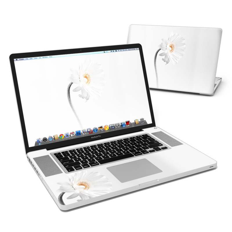 MacBook Pro Pre 2012 17-inch Skin design of White, Hair accessory, Headpiece, Gerbera, Petal, Flower, Plant, Still life photography, Headband, Fashion accessory with white, gray colors