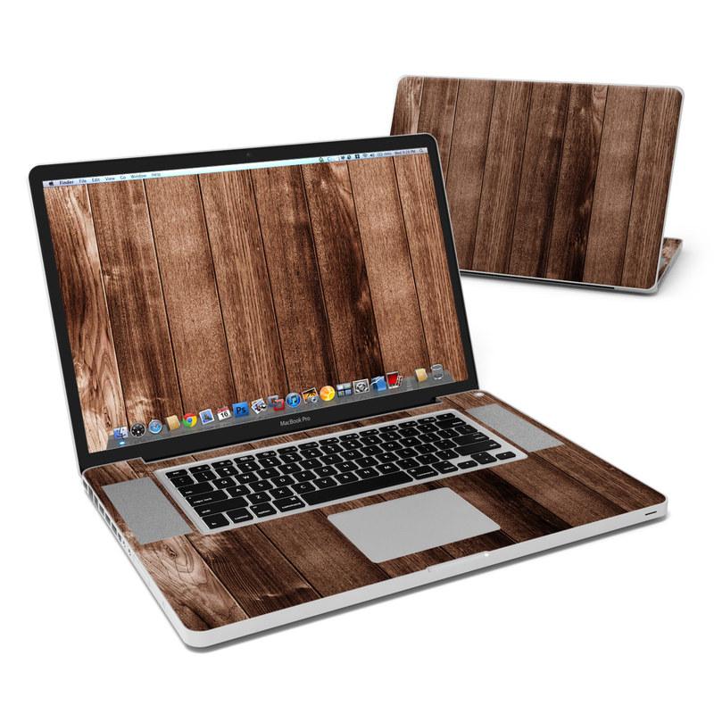 MacBook Pro Pre 2012 17-inch Skin design of Wood, Wood flooring, Hardwood, Wood stain, Plank, Brown, Floor, Line, Flooring, Pattern with brown colors