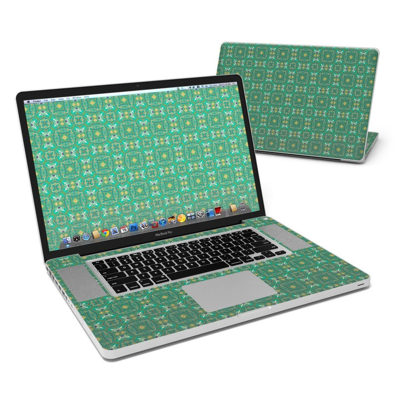 MacBook Pro Pre 2012 17-inch Skin design of Green, Pattern, Aqua, Turquoise, Teal, Design, Textile, Dahlia with green, blue, black, yellow colors