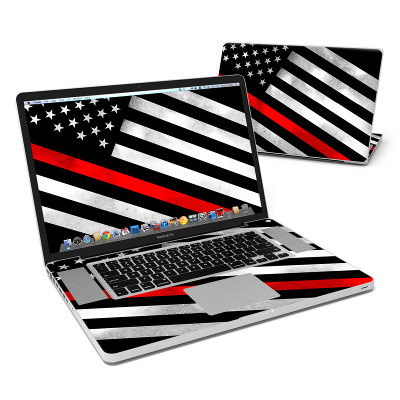 MacBook Pro Pre 2012 17-inch Skin design of Flag of the united states, Flag, Line, Black-and-white, Pattern, Flag Day (USA), Veterans day, Independence day, Memorial day with black, white, gray, red colors