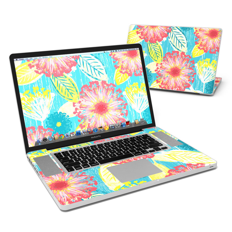 MacBook Pro Pre 2012 17-inch Skin design of Pattern, Design, Flower, Floral design, Plant, Textile, Wrapping paper, Wildflower, Visual arts with pink, gray, blue, yellow colors