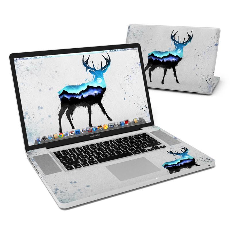 MacBook Pro Pre 2012 17-inch Skin design of Reindeer, Deer, Illustration, Watercolor paint, Art, Elk, Wildlife, Drawing, Paint, Graphics with gray, black, blue, purple, white colors