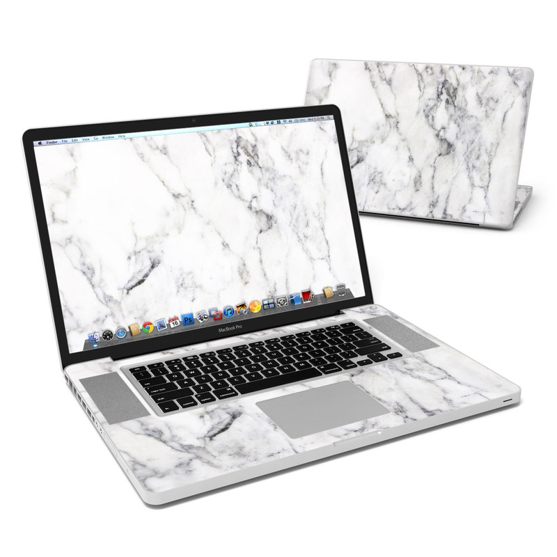 MacBook Pro Pre 2012 17-inch Skin design of White, Geological phenomenon, Marble, Black-and-white, Freezing with white, black, gray colors