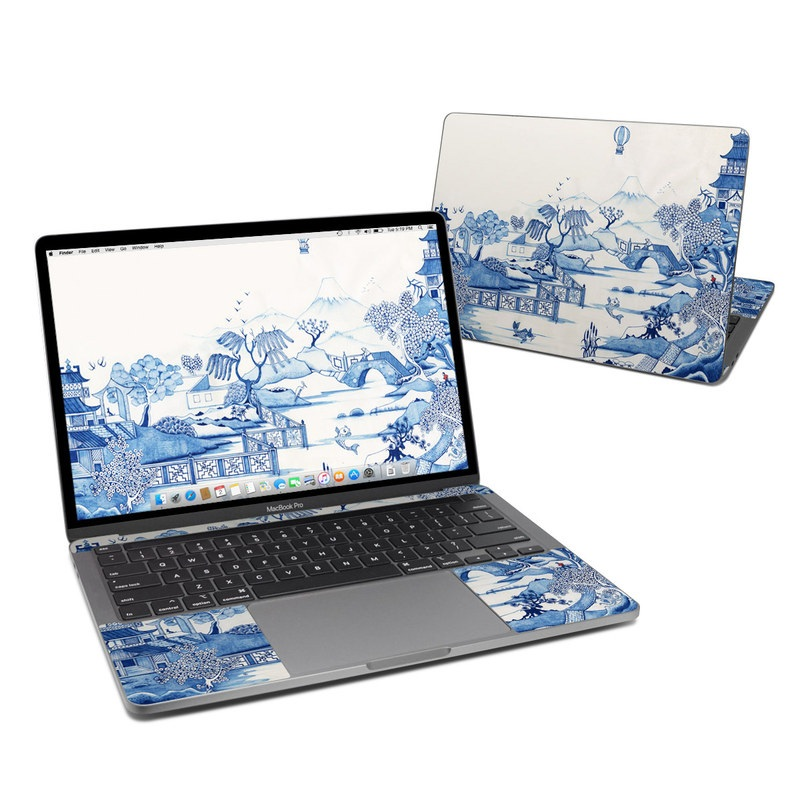 MacBook Pro 13-inch Skin design of Blue, Blue and white porcelain, Winter, Christmas eve, Illustration, Snow, World, Art with blue, white colors