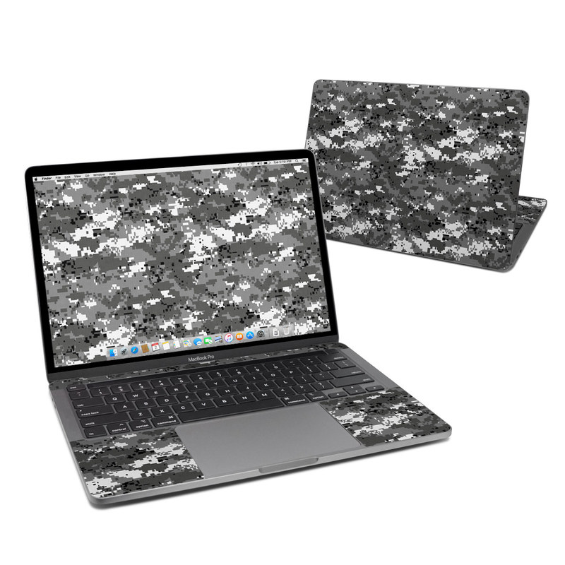 MacBook Pro 13-inch Skin design of Military camouflage, Pattern, Camouflage, Design, Uniform, Metal, Black-and-white with black, gray colors