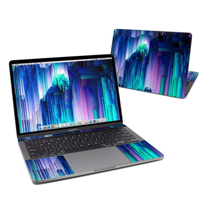 MacBook Pro 13-inch Skin design of Blue, Green, Light, Colorfulness with blue, purple, pink, white colors