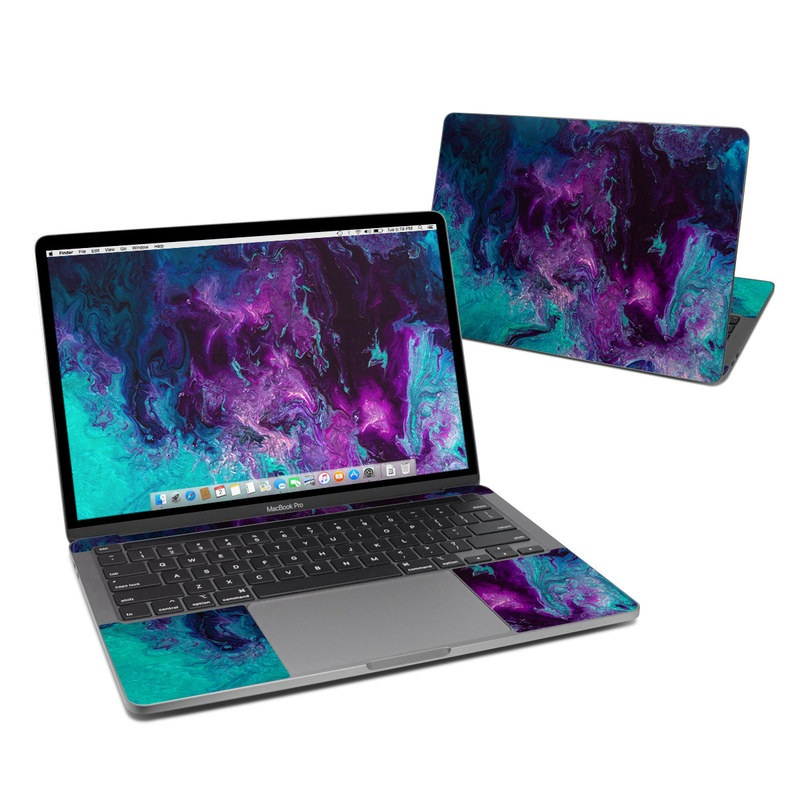 MacBook Pro 13-inch Skin design of Blue, Purple, Violet, Water, Turquoise, Aqua, Pink, Magenta, Teal, Electric blue with blue, purple, black colors