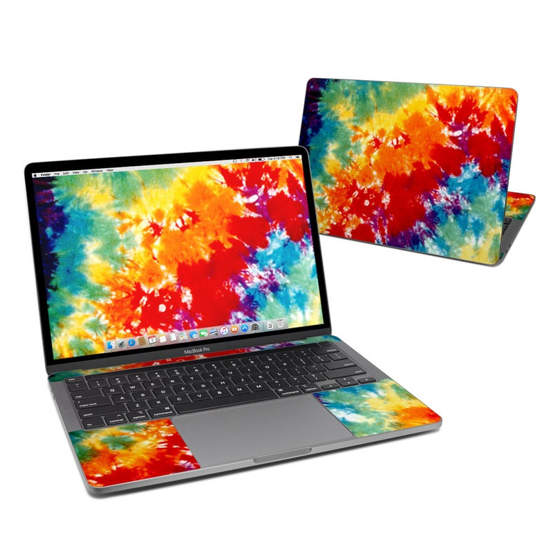 MacBook Pro 13-inch Skin design of Orange, Watercolor paint, Sky, Dye, Acrylic paint, Colorfulness, Geological phenomenon, Art, Painting, Organism with red, orange, blue, green, yellow, purple colors