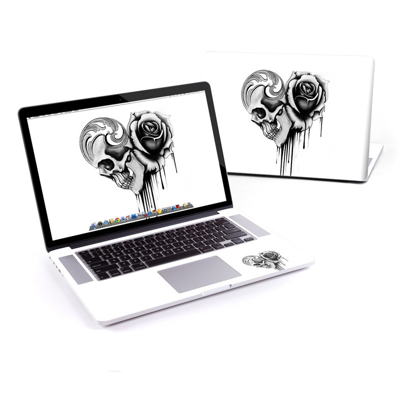 MacBook Pro Pre 2016 Retina 13-inch Skin design of Black-and-white, Illustration, Monochrome, Rose, Plant, Style, Metal, Drawing with white, black, gray colors