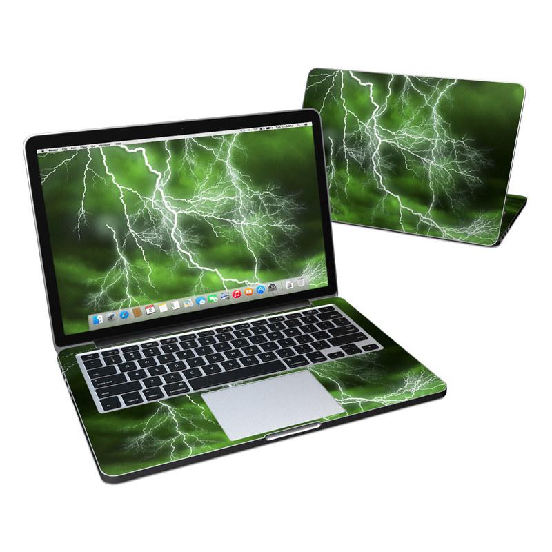 MacBook Pro Pre 2016 Retina 13-inch Skin design of Thunderstorm, Thunder, Lightning, Nature, Green, Water, Sky, Atmosphere, Atmospheric phenomenon, Daytime with green, black, white colors