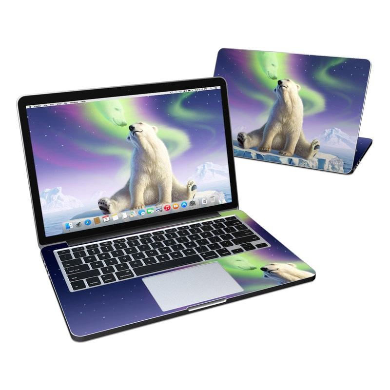 MacBook Pro Pre 2016 Retina 13-inch Skin design of Aurora, Sky, Wildlife, Polar bear, Fictional character with white, blue, green, purple colors