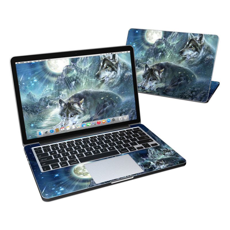 MacBook Pro Pre 2016 Retina 13-inch Skin design of Cg artwork, Fictional character, Darkness, Werewolf, Illustration, Wolf, Mythical creature, Graphic design, Dragon, Mythology with black, blue, gray, white colors