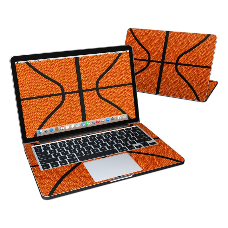 MacBook Pro Pre 2016 Retina 13-inch Skin design of Orange, Basketball, Line, Pattern, Sport venue, Brown, Yellow, Design, Net, Team sport with orange, black colors