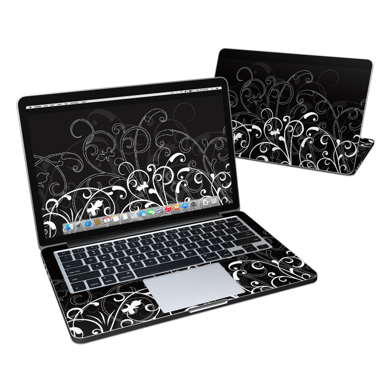 MacBook Pro Pre 2016 Retina 13-inch Skin design of Black, Pattern, Black-and-white, Monochrome photography, Design, Monochrome, Circle, Floral design, Font, Graphic design with black, white colors